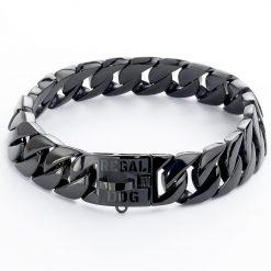 Gloss Black Dog Chain Collar
