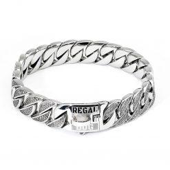 Silver Diamond Chain Dog Collar