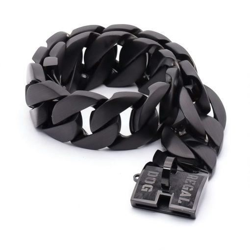 XL Gloss Black Chain Dog Collar