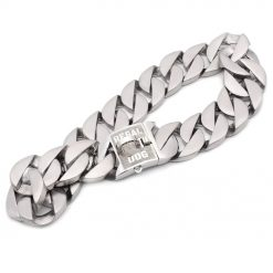 XL Matt Silver Chain Dog Collar