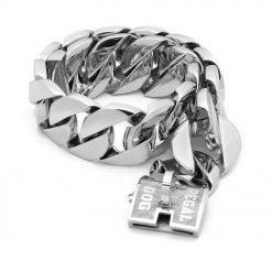 XL Silver Chain Dog Collar