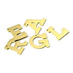 Gold Letter Dog Collar Pendants
