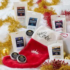 Personalised Christmas Dog Stocking treat bundle with Black Font