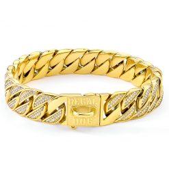 Gold Diamond Dog Chain Collar