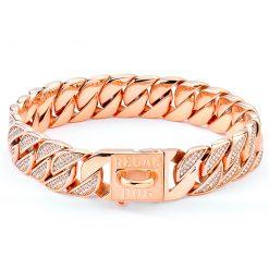 Rose Gold Diamond Dog Chain Collar