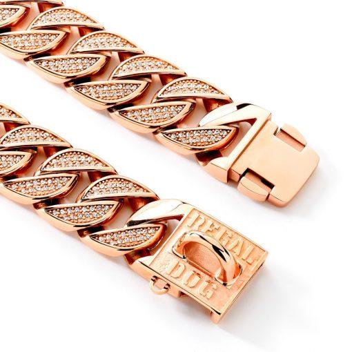 Rose Gold Diamond Dog Chain Collar Clips