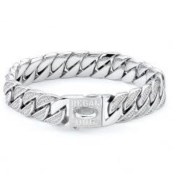 Silver Diamond Dog Chain Collar